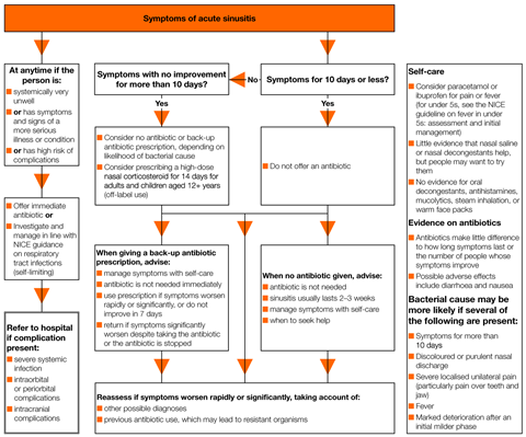 A visual summary of the recommendations for prescribing in acute sinusitis