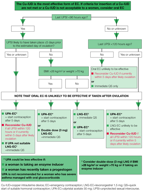A decision making algorithm for oral emergency contraception comparing levonorgestrel and ulipristal acetate